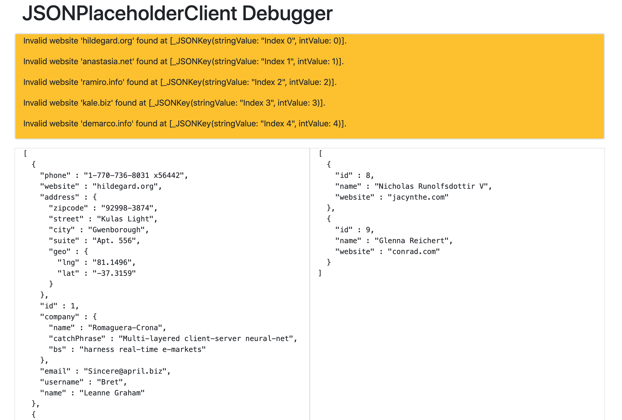 Debugging Website